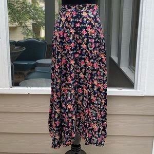 Vintage 90s Highwaisted Floral Button Front Skirt